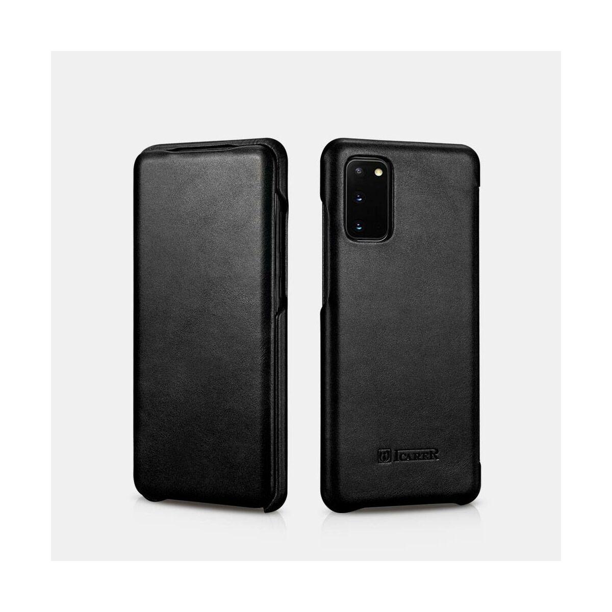 iCarer Samsung S20 Tok, Ívelt élű Vintage Sorozat fekete