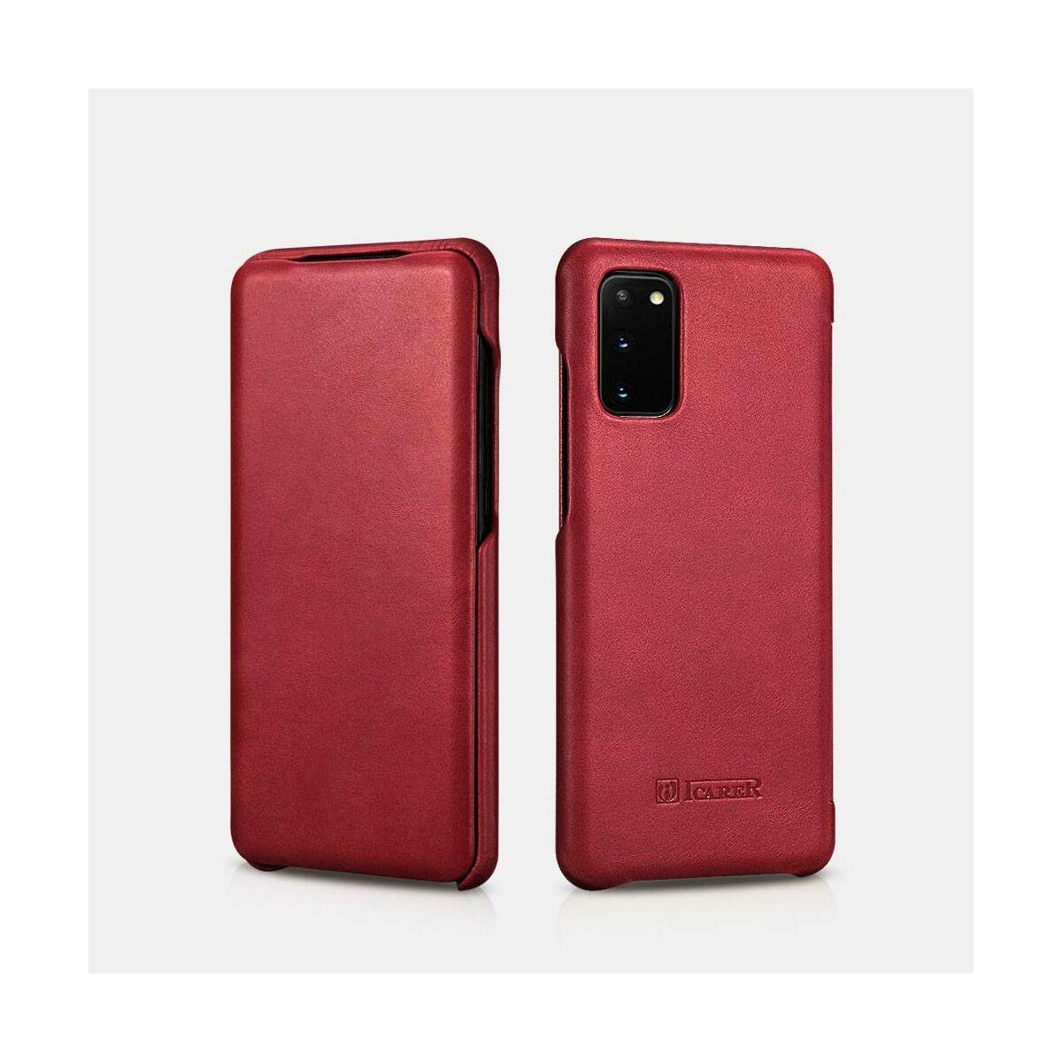 iCarer Samsung S20 Tok, Ívelt élű Vintage Sorozat piros