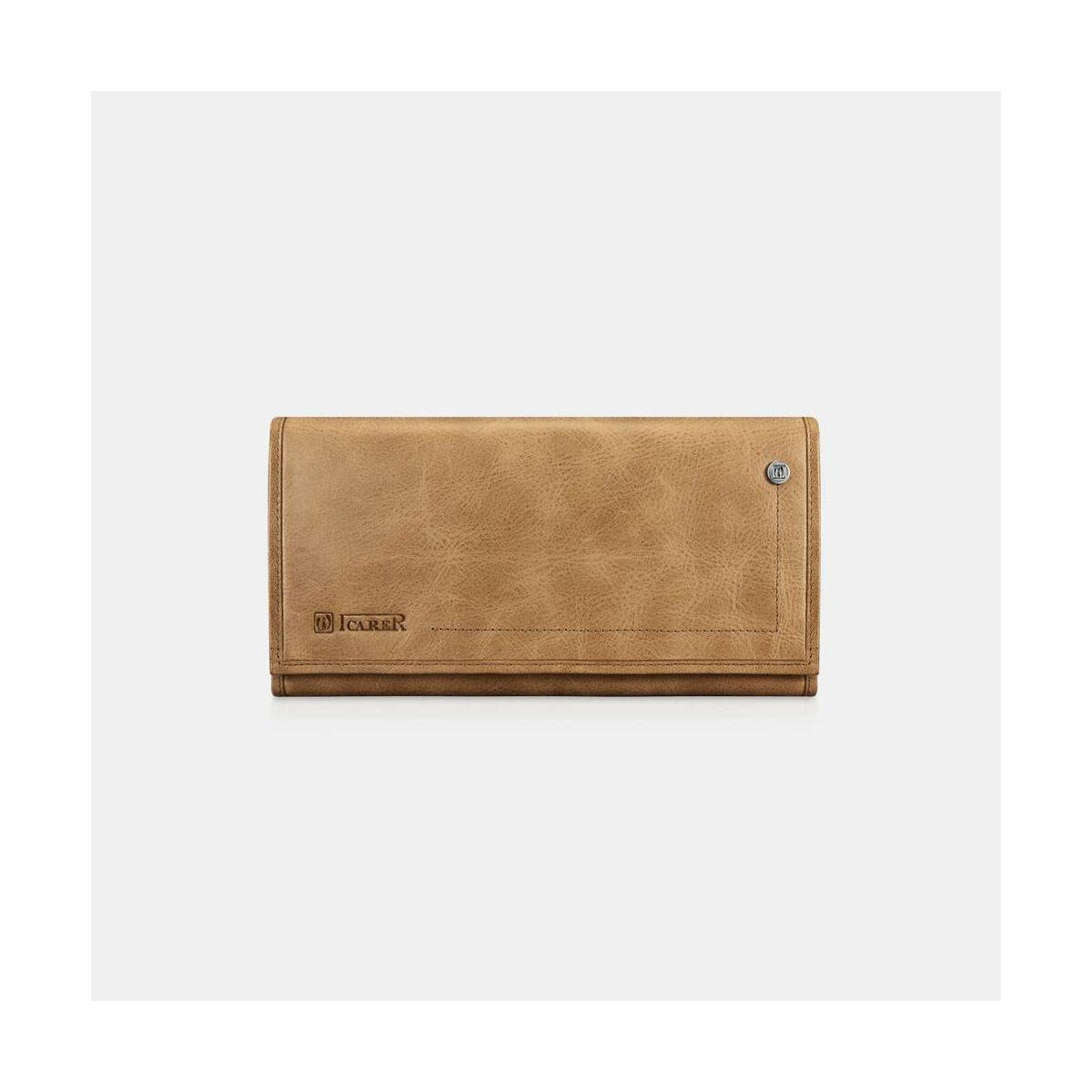 iCarer Kiegészítő Tárca növényi cserzett bőr Three Fold világos barna