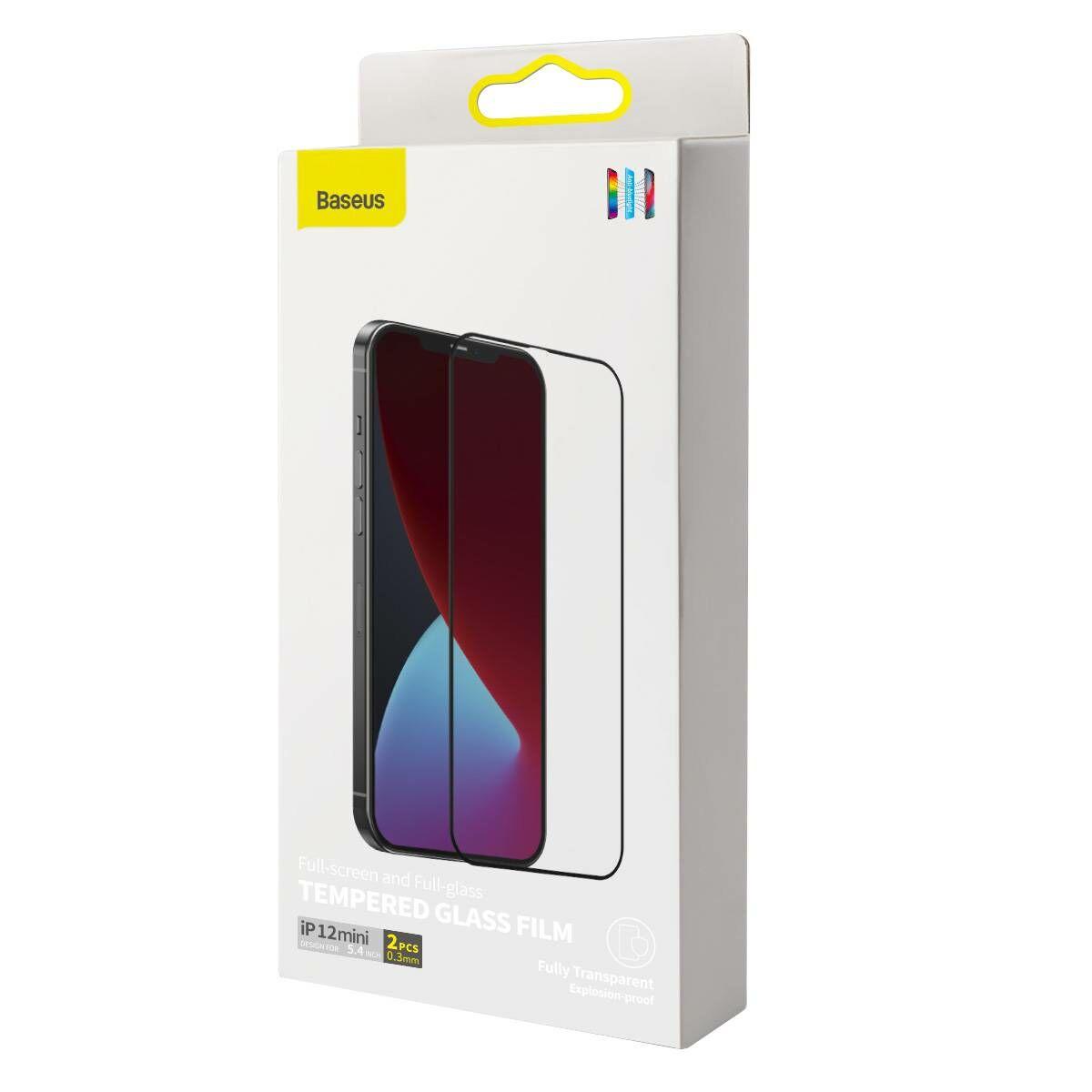 Baseus iPhone 12 mini 0.3 mm, teljes felületre, edzett üveg, kékfény szűrős (2db + keret), fekete (SGAPIPH54N-KN01)