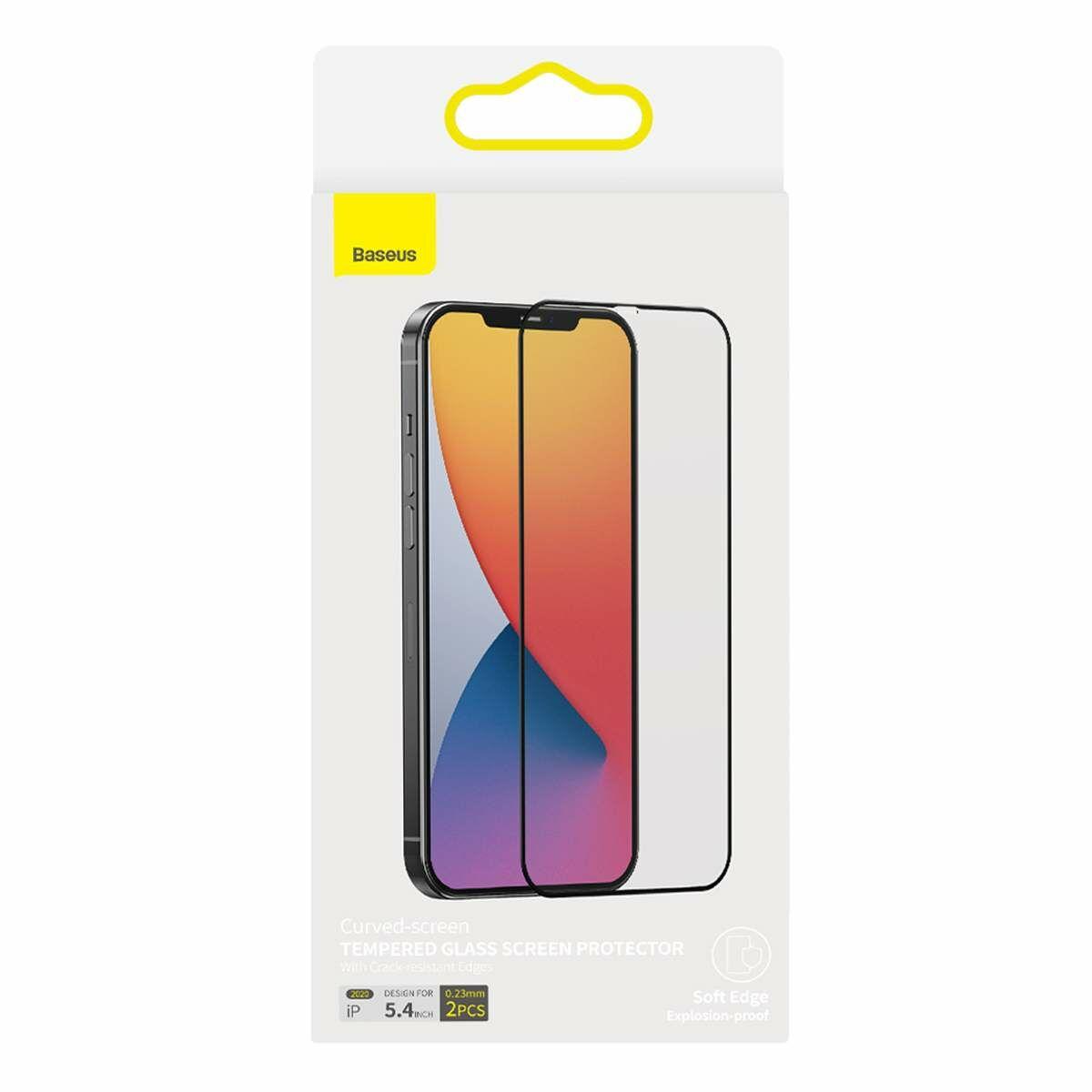 Baseus iPhone 12 mini 0.23 mm, teljes felületre, lekerekített edzett üveg, törés álló szélek (2 db), fekete (SGAPIPH54N-PE01)