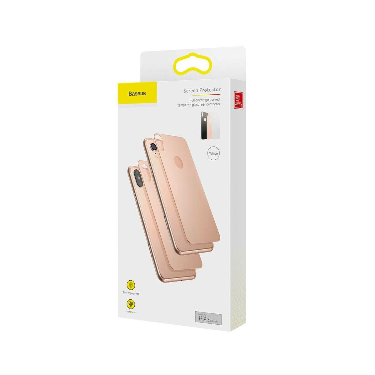 """Baseus iPhone XS (5.8"""") 0.3 mm, teljes lefedésre edzett üveg hátlap védő fólia, arany (SGAPIPH58-BM0V)"""