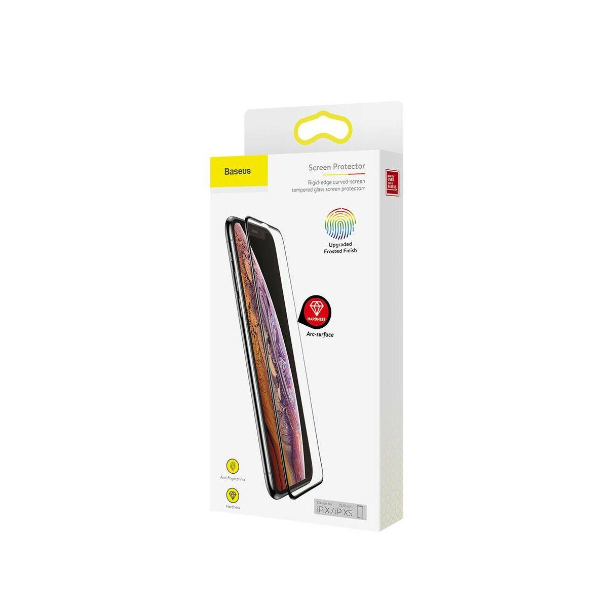 """Baseus iPhone XS (5.8"""") 0.3 mm, teljes felületre lekerekített matt edzett üveg, fekete (SGAPIPH58-KM01)"""