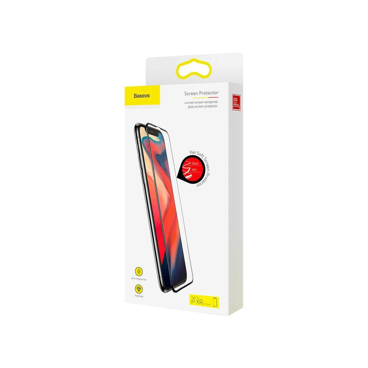 """Baseus iPhone XR/ 11 (6.1"""") 0.23 mm, teljes felületre, repedésálló edzett üveg kijelzővédő fólia, fekete (SGAPIPH61-PE01)"""
