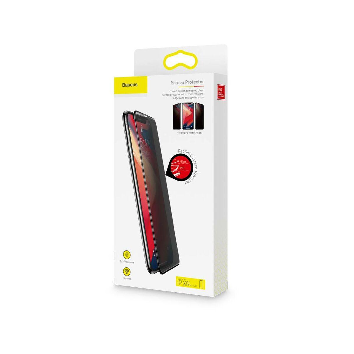 """Baseus iPhone XR/ 11 (6.1"""") 0.23 mm, teljes felületre, Anti-Spy repedésálló edzett üveg kijelzővédő fólia, fekete (SGAPIPH61-TG01)"""