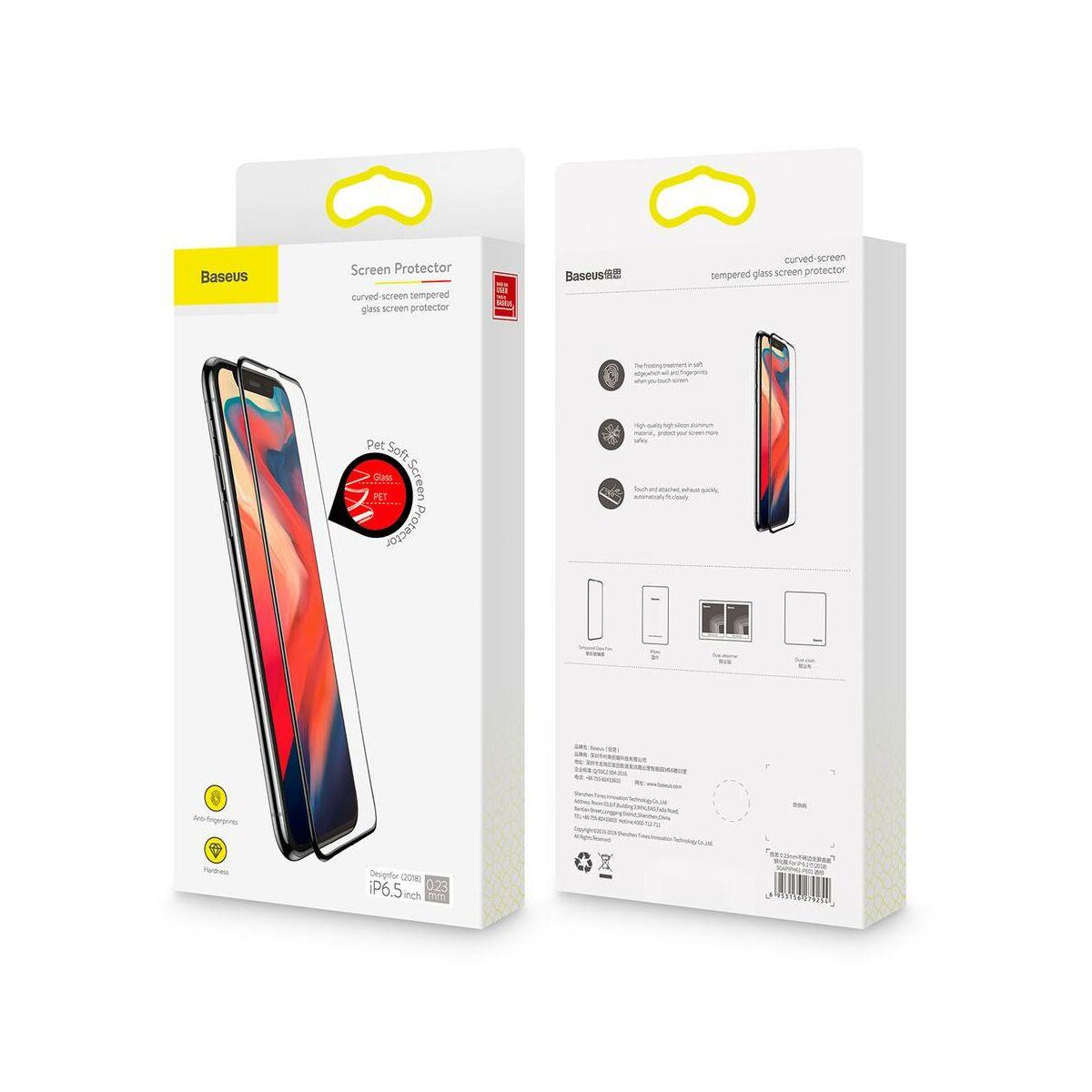 """Baseus iPhone XS Max (6.5"""") 0.23 mm, repedésálló teljes felületre, kékfény szűrős edzett üveg kijelzővédő fólia, fekete (SGAPIPH65-TE01)"""