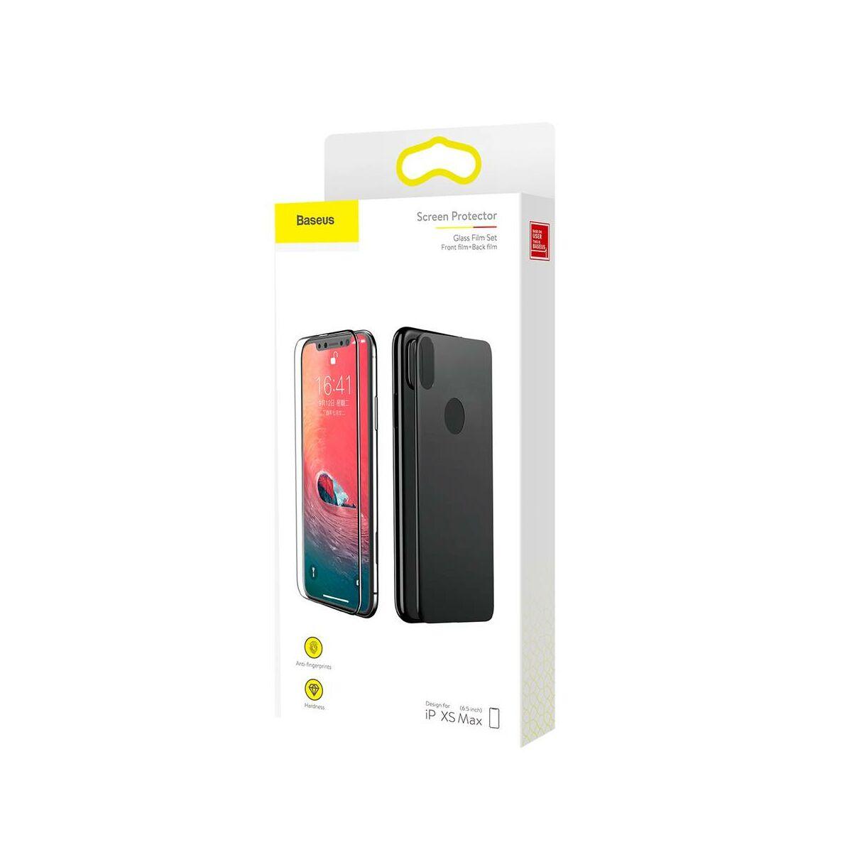 """Baseus iPhone XS Max (6.5"""") 0.3 mm, üveg fólia szett (előlap + hátlap), fekete (SGAPIPH65-TZ01)"""