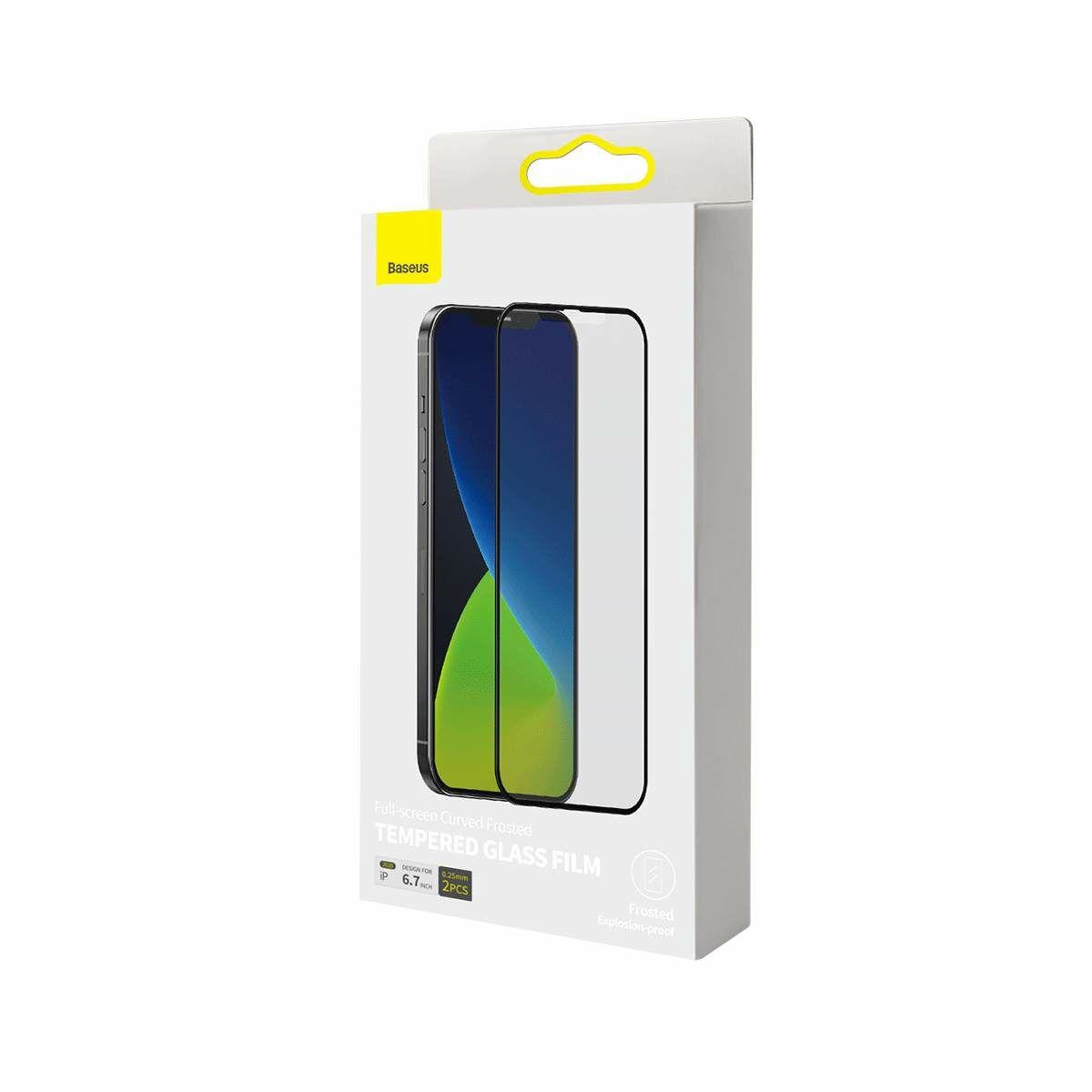 Baseus iPhone 12 Pro Max 0.25 mm, teljes felületre, lekerekített, matt edzett üveg (2db), fekete (SGAPIPH67N-KM01)