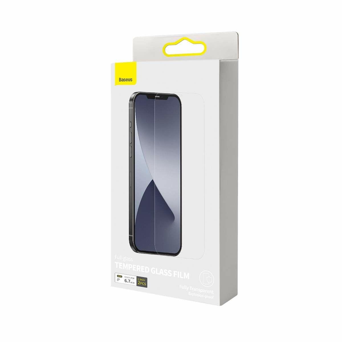 Baseus iPhone 12 Pro Max 0.3 mm, teljes felületre, lekerekített edzett üveg (2db), fehér (SGAPIPH67N-LS02)