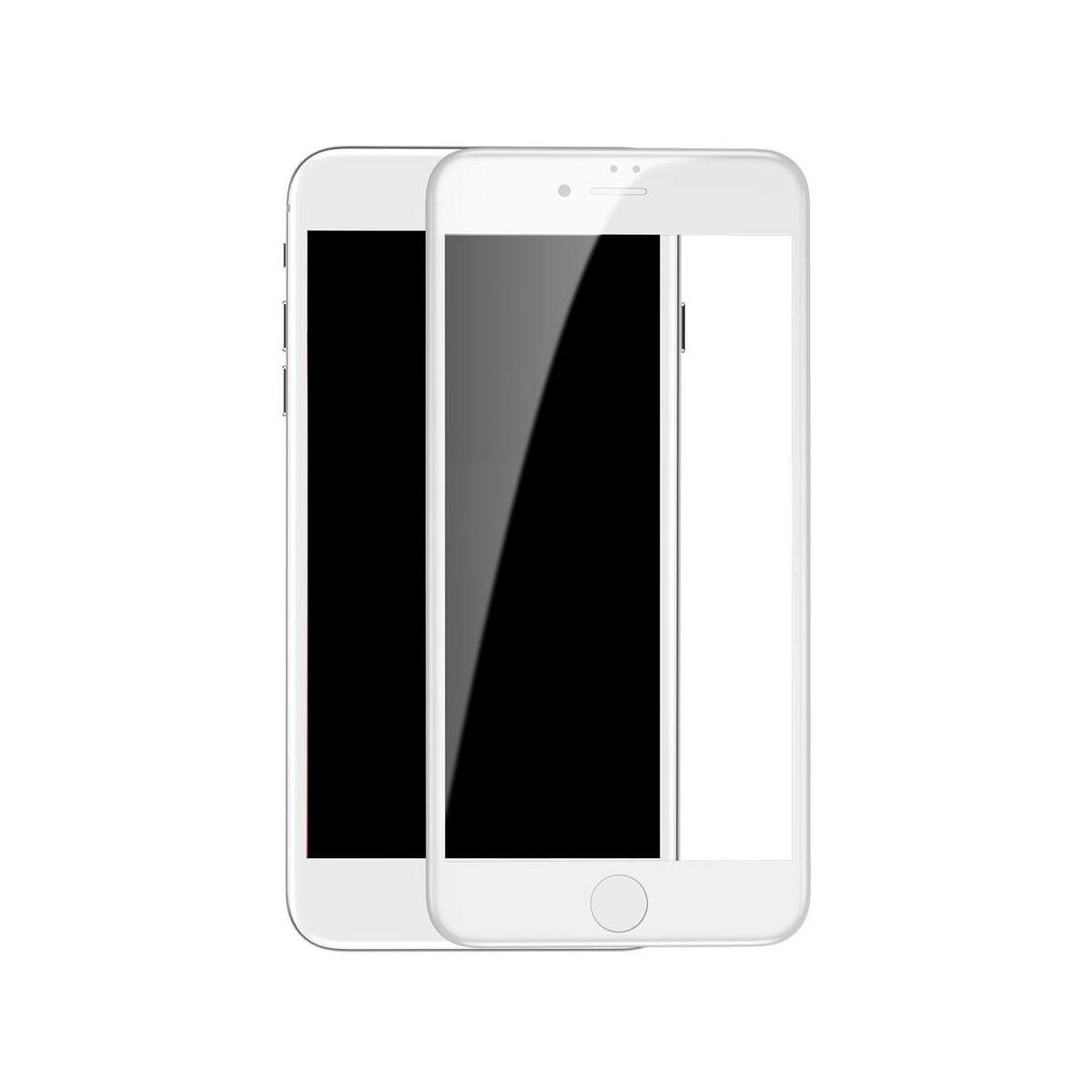 Baseus iPhone 8/7 0.3 mm, teljes felületre edzett üveg kijelzővédő fólia, fehér (SGAPIPH8N-KA02)