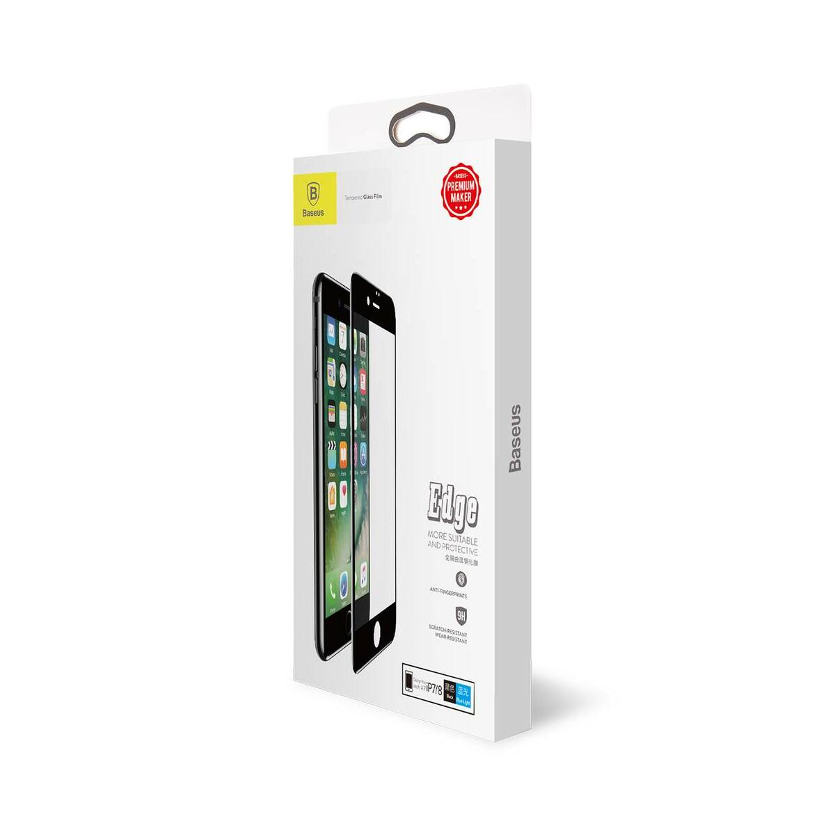 Baseus iPhone 8/7 0.3 mm, teljes felületre kékfény szűrős edzett üveg kijelzővédő fólia, fekete (SGAPIPH8N-KB01)