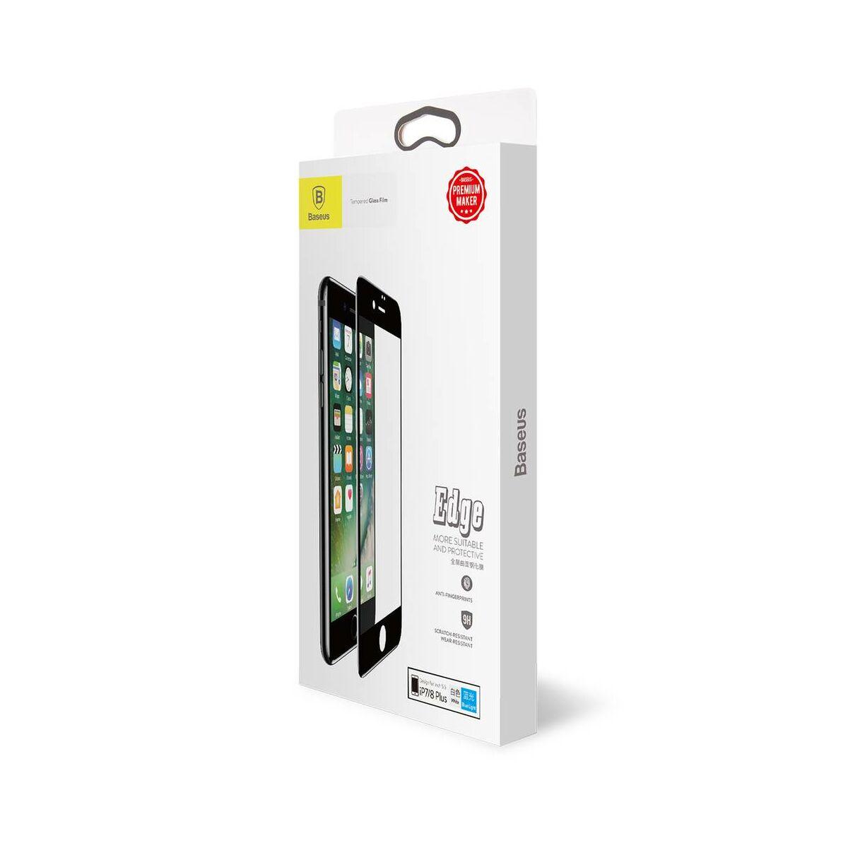 Baseus iPhone 8/7 Plus 0.3 mm, teljes felületre kékfény szűrős edzett üveg kijelzővédő fólia, fekete (SGAPIPH8P-KB01)