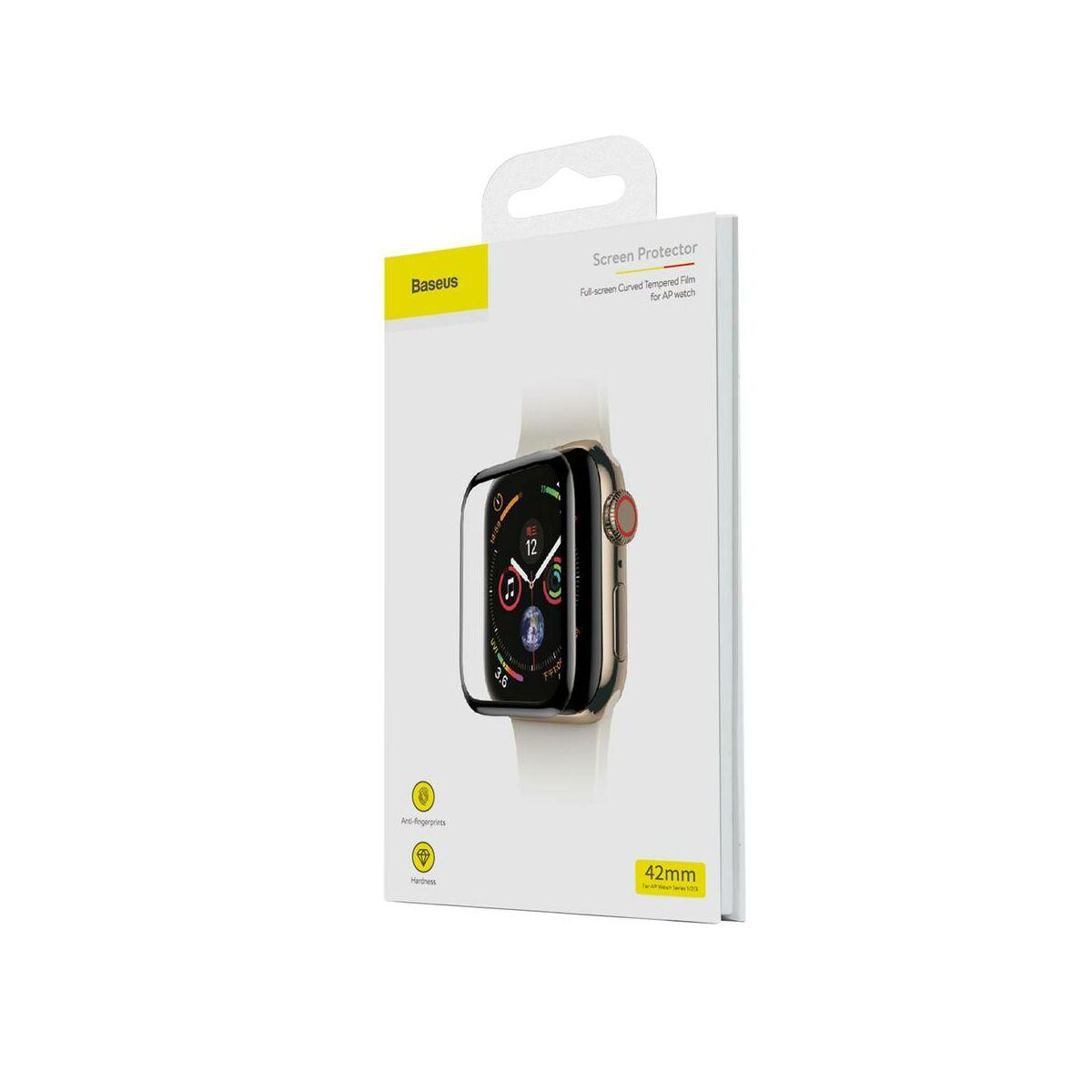 Baseus iWatch 0.23 mm, teljes felületre, edzett üveg kijelzővédő fólia repedésálló szélek 42 mm, fekete (SGAPWA4-D01)