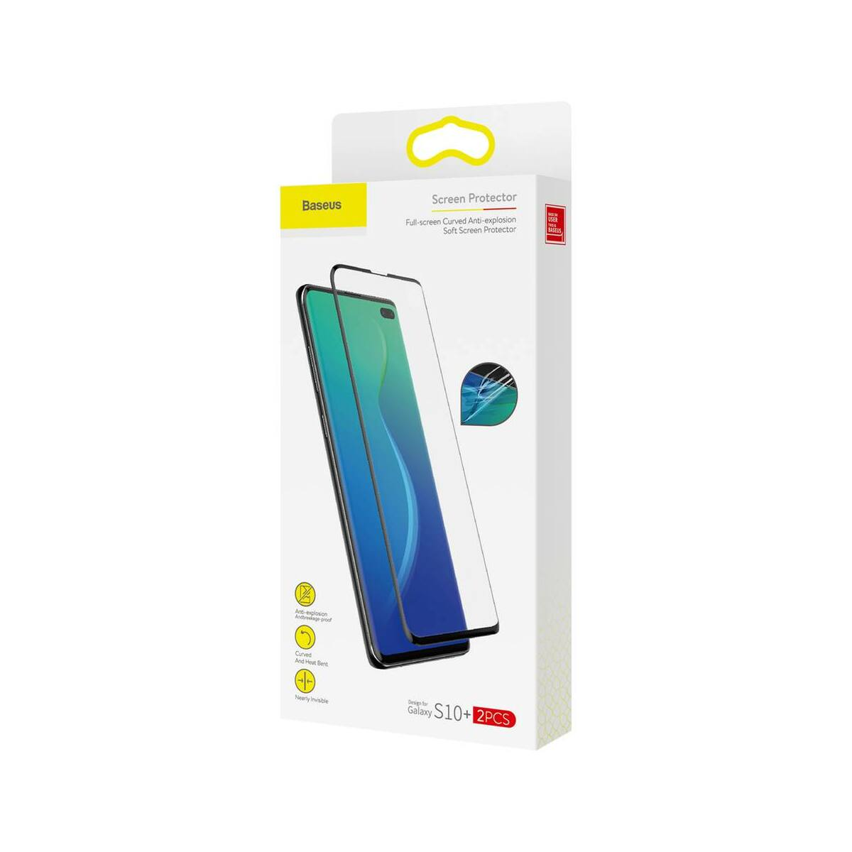 Baseus Samsung S10 Plus 0.15 mm, teljes felületre kékfény szűrős kijelzővédő film, fekete (SGSAS10P-KS01)