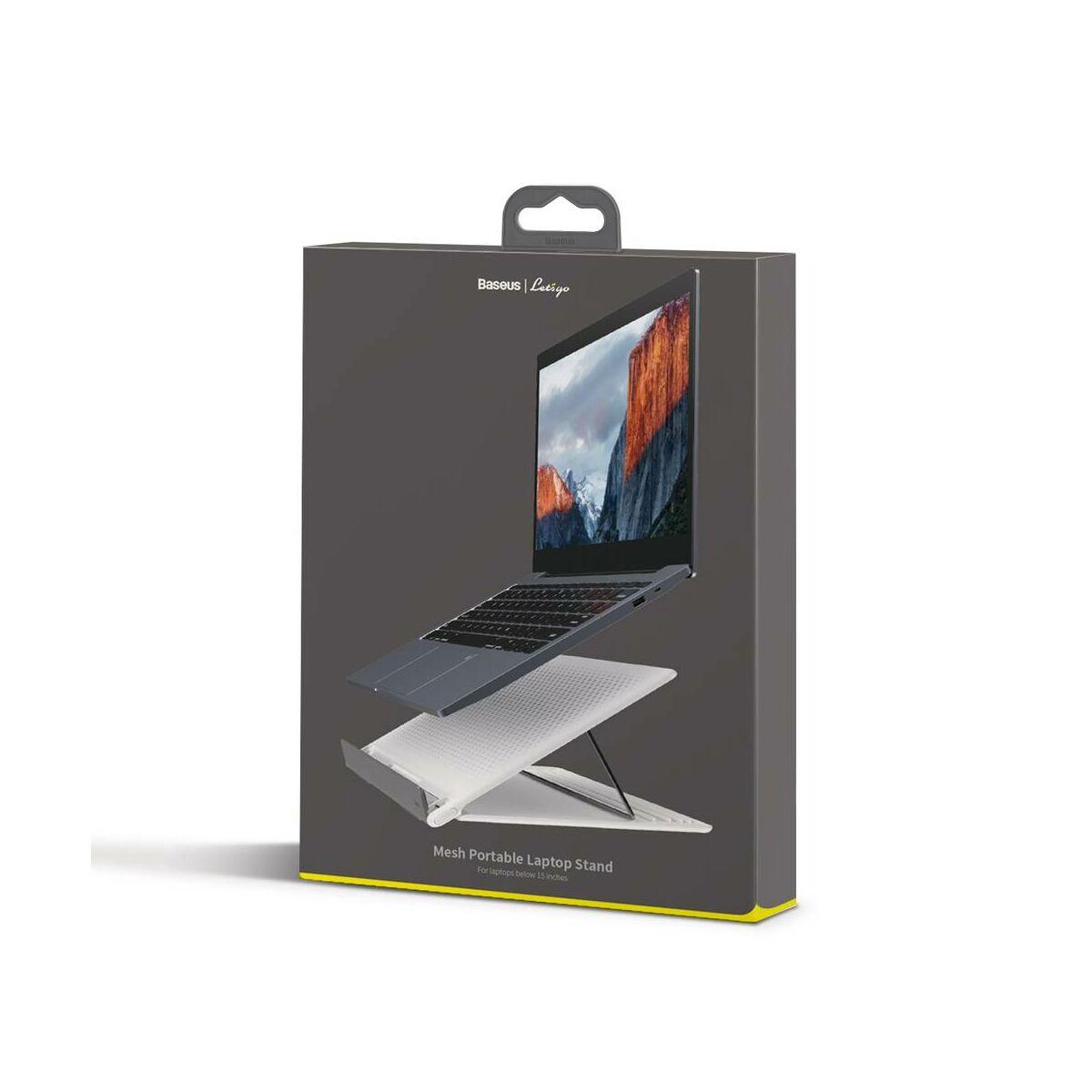 Baseus MacBook és Laptop tartó Lets go Mesh hordozható és kinyitható állvány 11-16 inch közötti mérethez, fehér/szürke (SUDD-2G)