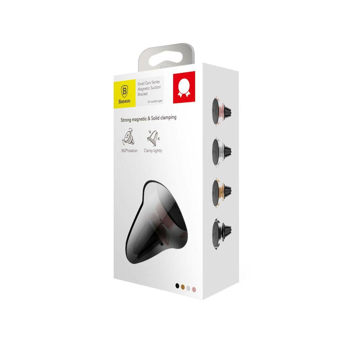 Baseus autós telefon tartó, Small ears series mágneses, szellőzőrácsra, rosé arany (SUER-A0R)