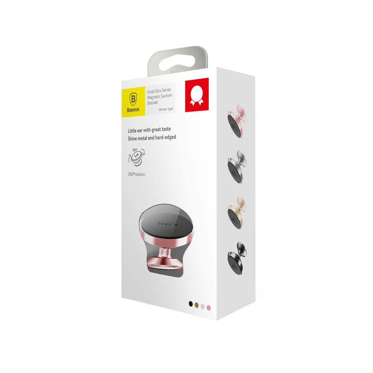 Baseus autós telefontartó, Small Ears series mágneses, műszerfalra, rózsaarany (SUER-B0R)