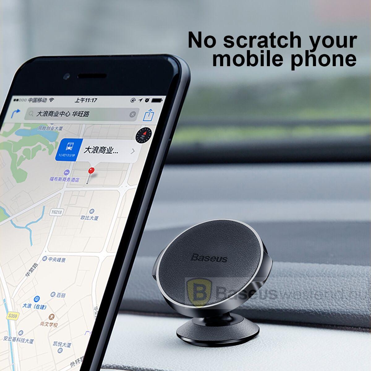 Baseus autós telefon tartó, Small Ears series mágneses, műszerfalra, ezüst (SUER-B0S)