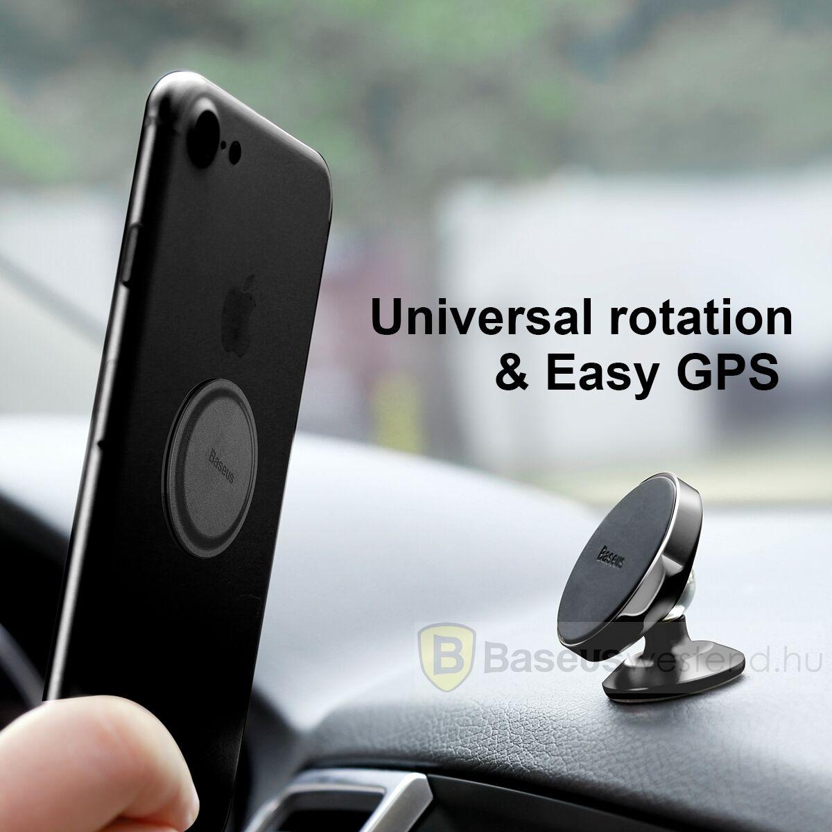 Baseus autós telefon tartó, Small Ears series mágneses, műszerfalra, arany (SUER-B0V)