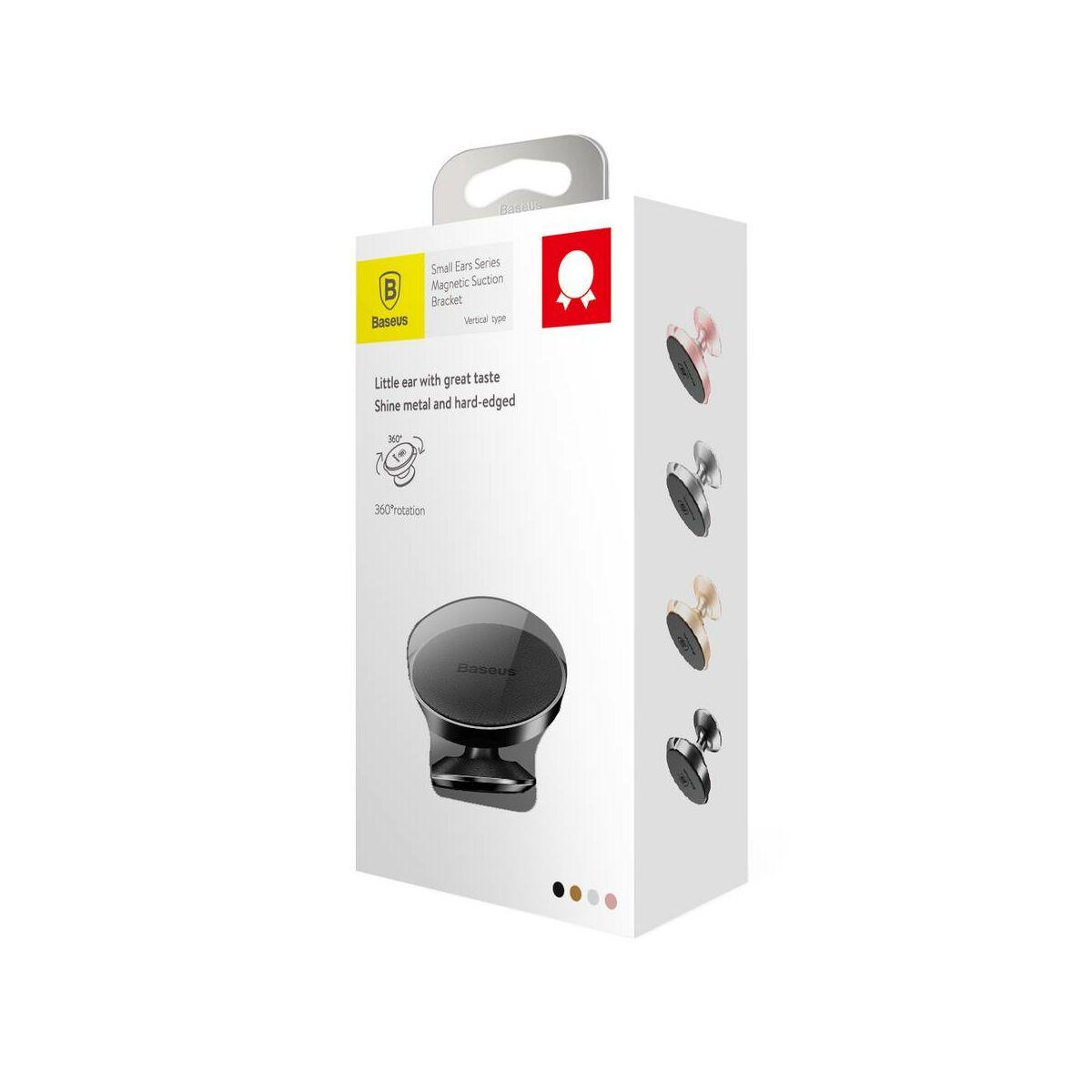 Baseus autós telefontartó, Small Ears Series mágneses, műszerfalra, bőr felület, fekete (SUER-F01)