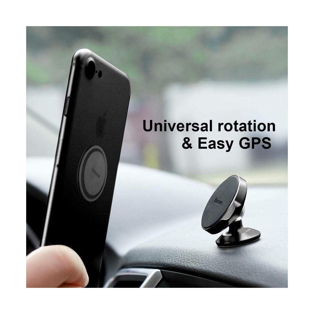 Baseus autós telefon tartó, Small Ears Series mágneses, műszerfalra, bőr felület, fekete (SUER-F01)