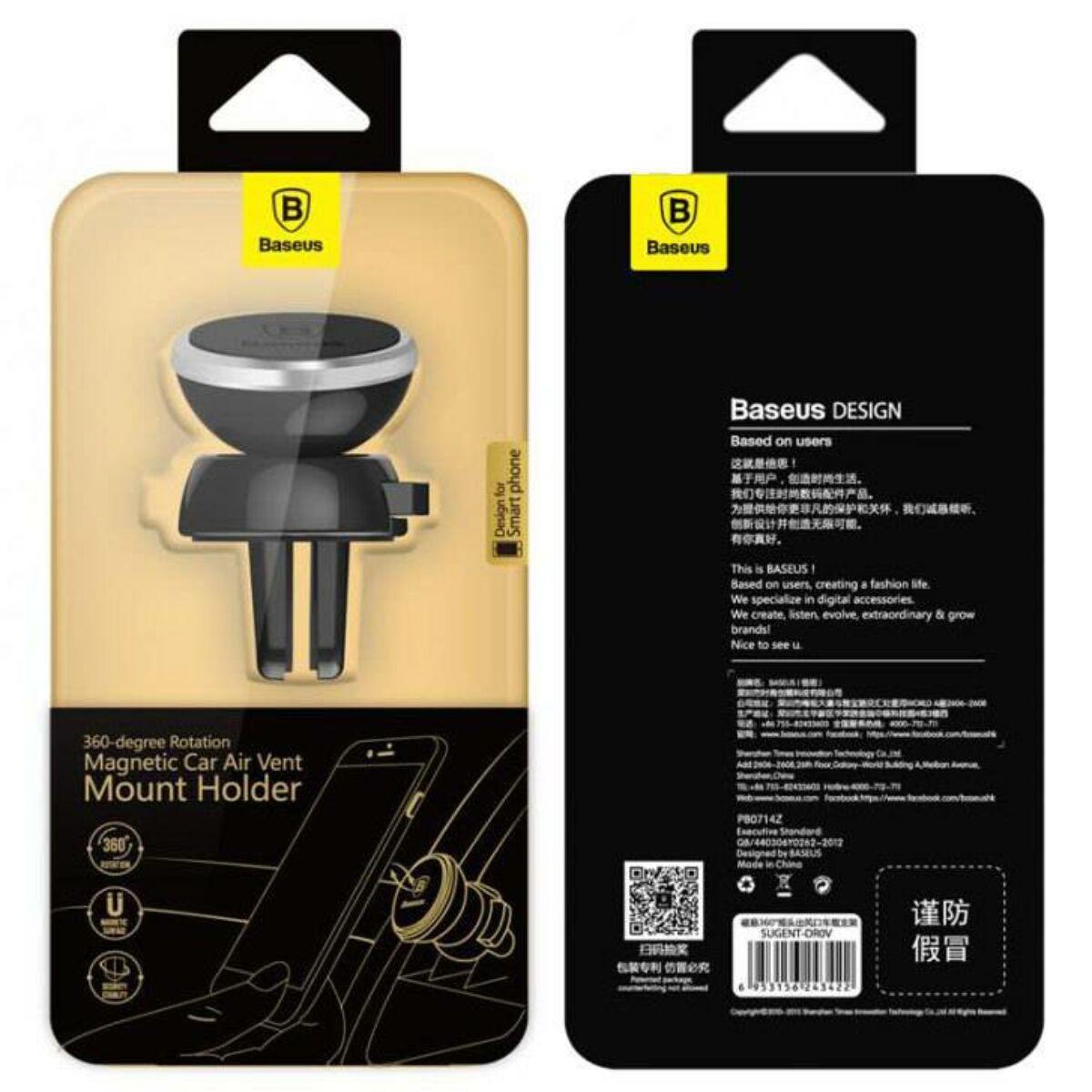 Baseus autós telefontartó, 360 fokban forgatható, mágneses, szellőzőrácsra, ezüst (SUGENT-DR0S)