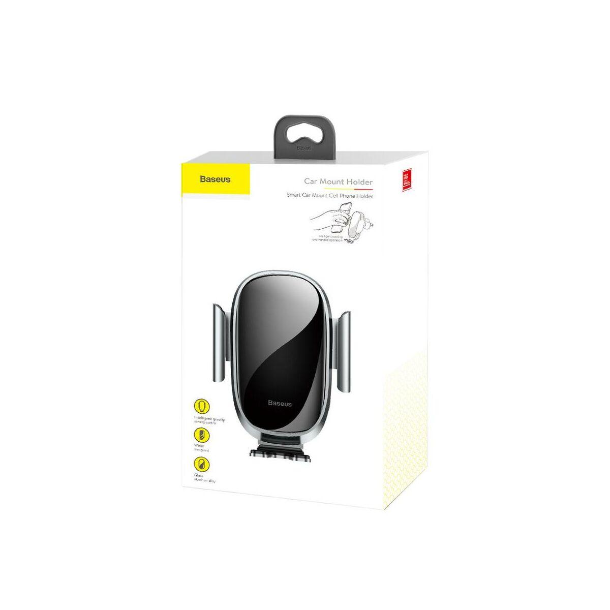 Baseus autós telefon tartó, Gravity szellőzőrácsra, automatikus nyitás-zárás, ezüst (SUGENT-ZN0S)