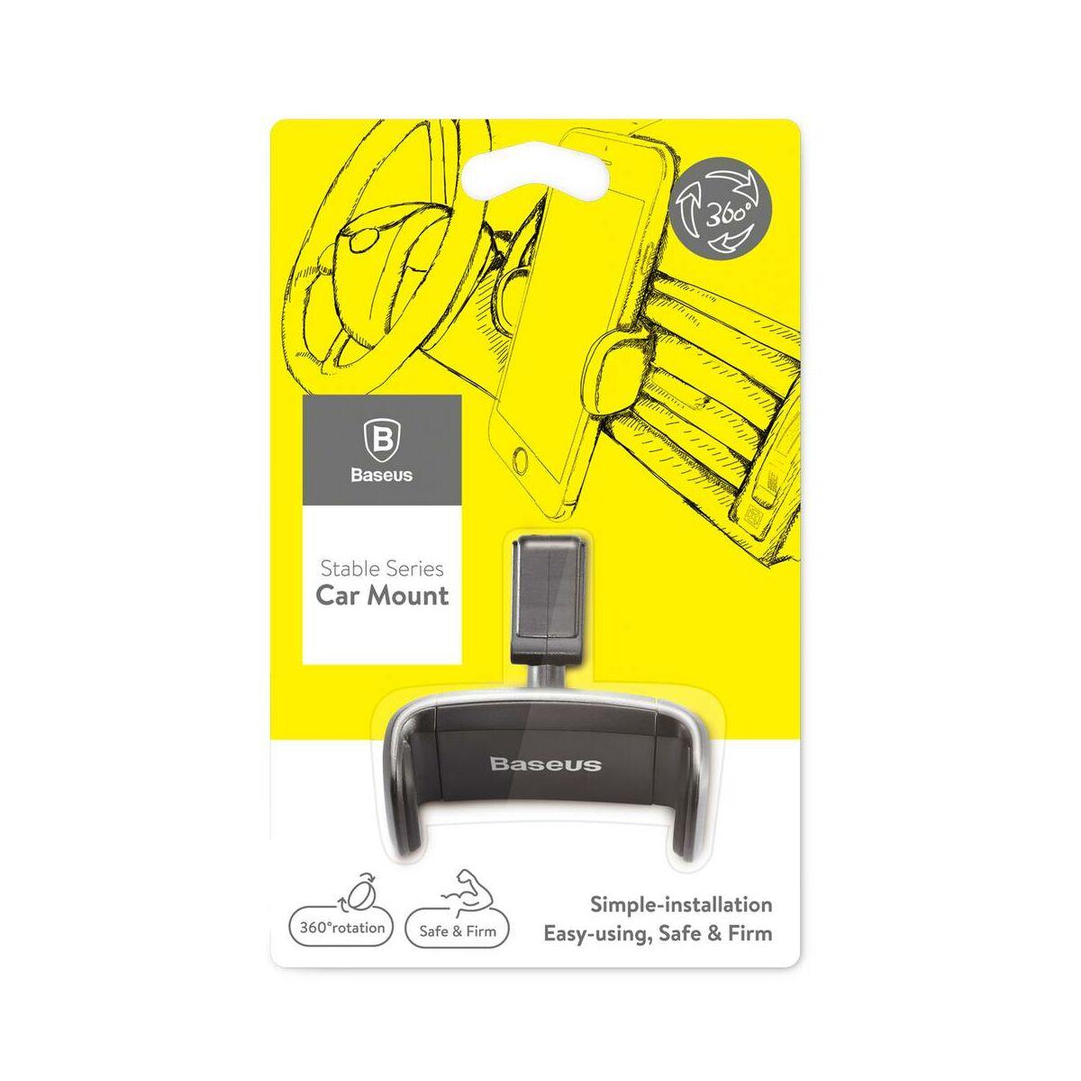 Baseus autós telefon tartó, Stable Series, szellőzőrácsra, csak oldal tartó funkcióval, fekete (SUGX-01)