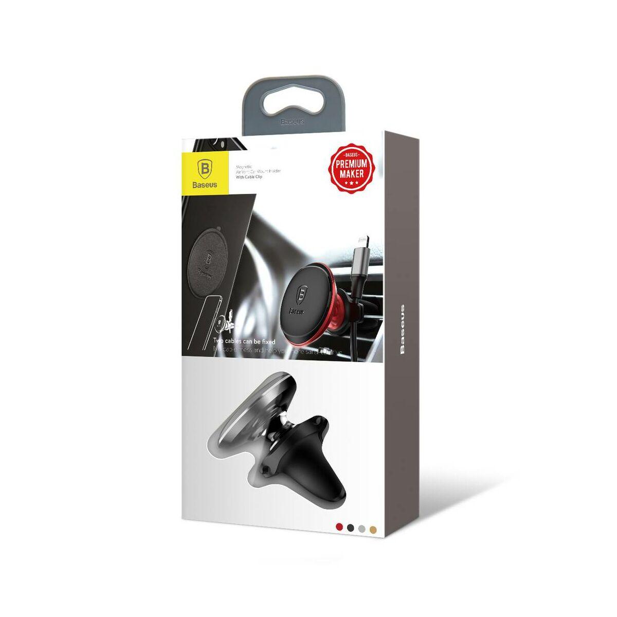 Baseus autós telefontartó, mágneses, szellőzőrácsra csipesszel, fekete (SUGX-A01)