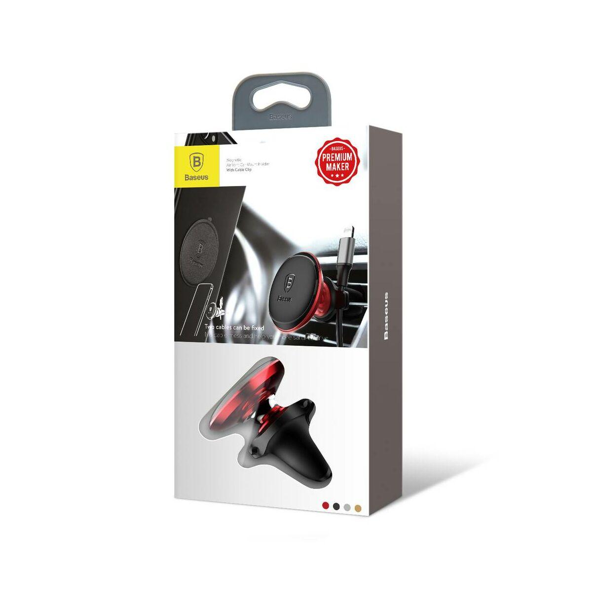 Baseus autós telefon tartó, mágneses, szellőzőrácsra csipesszel, piros (SUGX-A09)