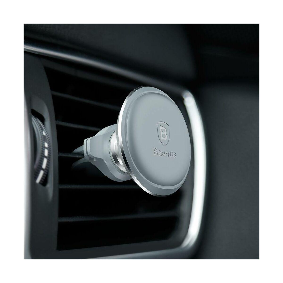 Baseus autós telefon tartó, mágneses, szellőzőrácsra csipesszel, ezüst (SUGX-A0S)
