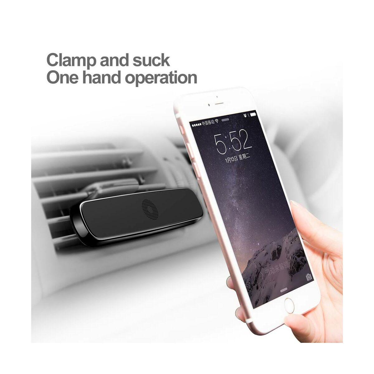 Baseus autós telefon tartó, Double Clip univerzális mágneses, szélesebb kivitel, fekete (SUHS-DP01)