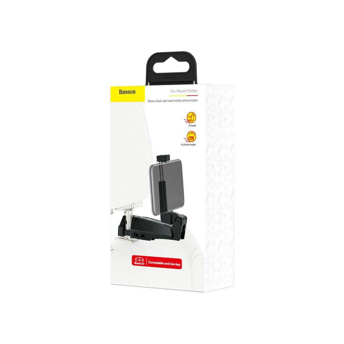 Baseus autós telefontartó, Első ülés fejtámlához rögzíthető készülék tartó, ruha akasztóval 4.0-6.5 inch méretig, fekete (SUHZ-A01)