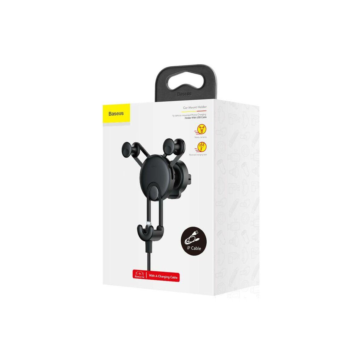 Baseus autós telefon tartó, YY alakú töltő kábellel (Lightning), fekete (SULYY-01)