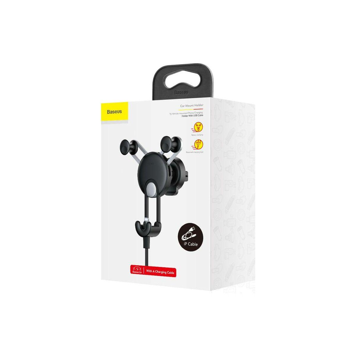Baseus autós telefontartó, YY alakú töltő kábellel (Lightning), ezüst (SULYY-0S)