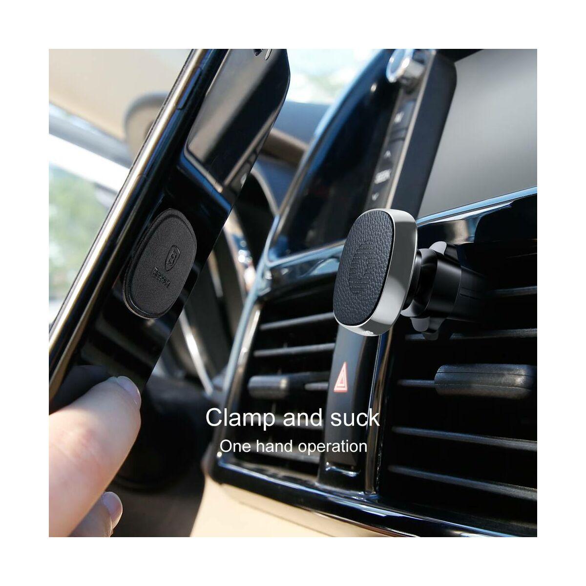 Baseus autós telefon tartó, Privity series mágneses, szellőzőrácsra (valódi bőr), ezüst (SUMQ-PR0S)