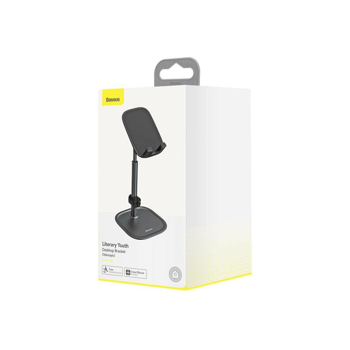 Baseus Univerzális kiegészítő, Literary Youth asztali állvány telefon/tablet stabil kihelyezésre, kábel vezető, teleszkóp, fekete (SUWY-A01)