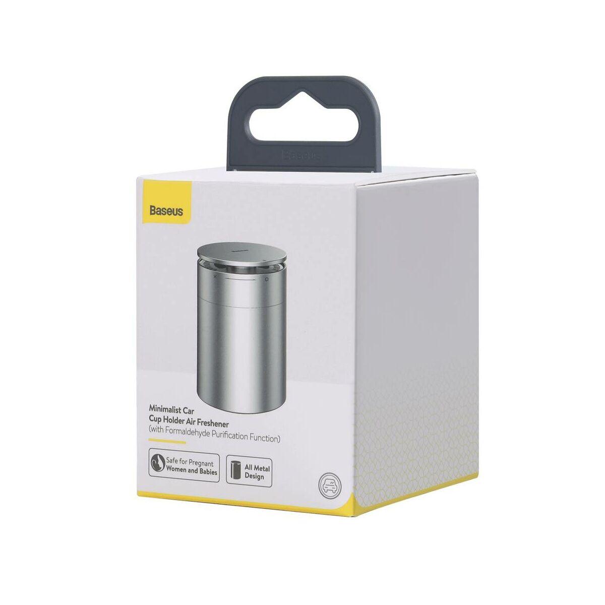 Baseus autós kiegészítő Minimalist pohártartóba való légfrissítő, Cologne illattal (Formaldehydes tisztító funkció), fekete (SUXUN-CL01)