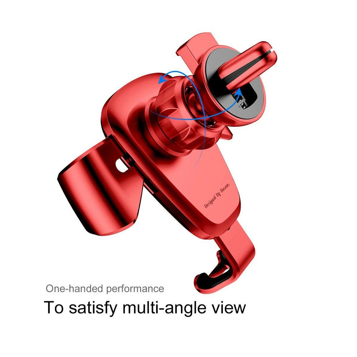 Baseus autós telefon tartó, Gravity, szellőzőrácsra, piros (SUYL-09)