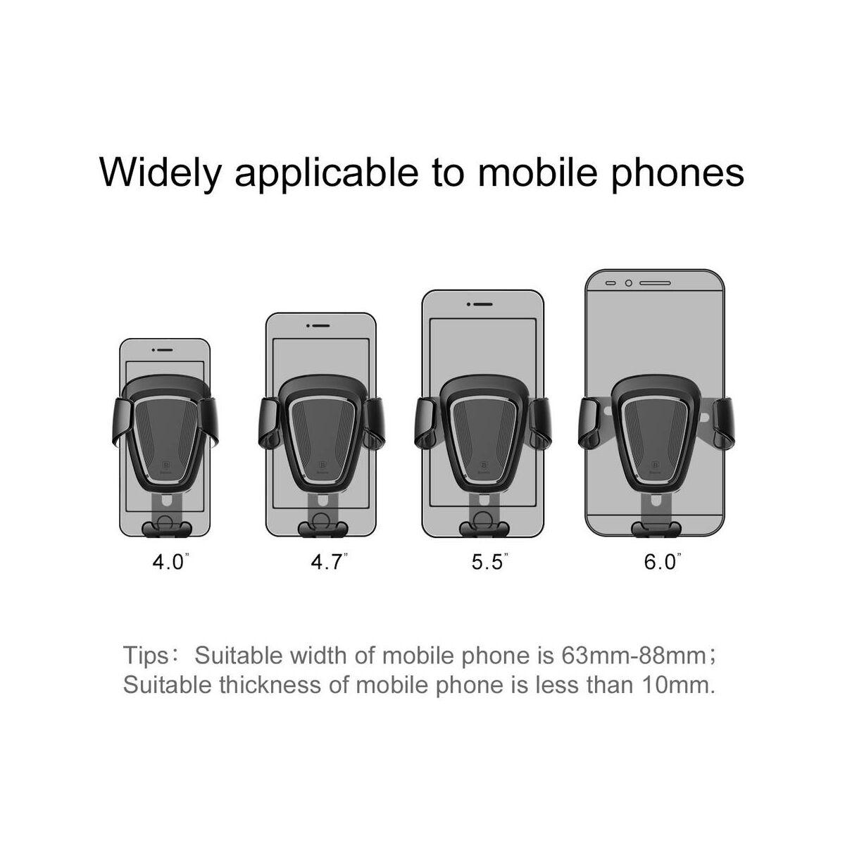 Baseus autós telefon tartó, Gravity, szellőzőrácsra, arany (SUYL-0V)