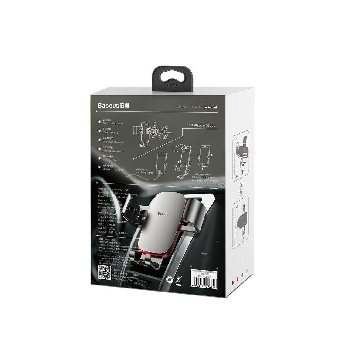 Baseus autós telefon tartó, Metal Age Gravity szellőzőrácsra, ezüst (SUYL-D0S)