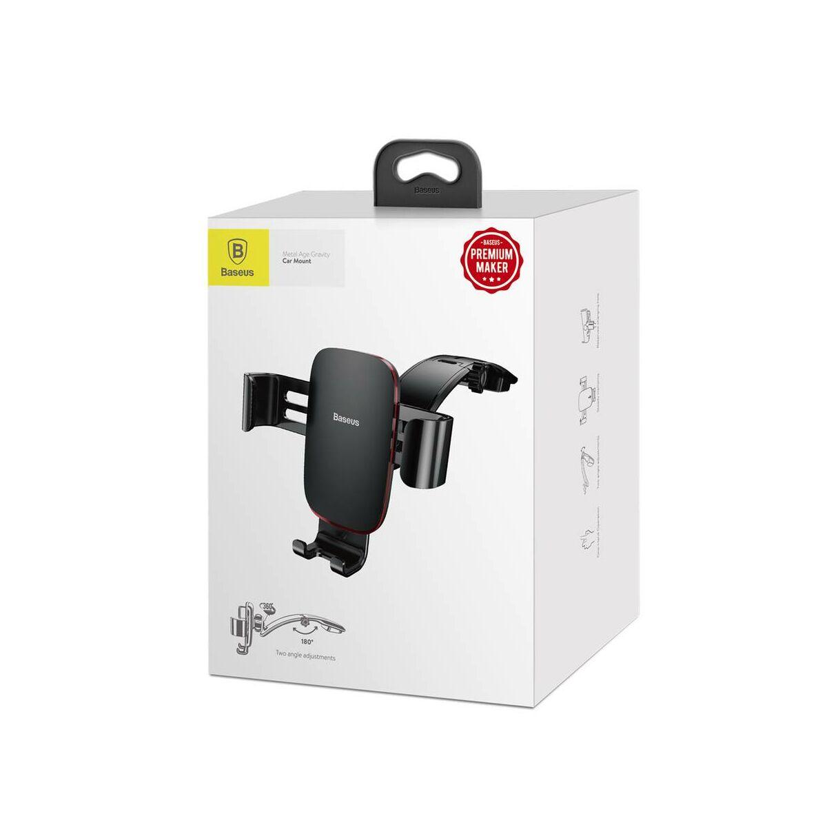 Baseus autós telefontartó, Metal Age Gravity műszerfalra, fekete (SUYL-F01)
