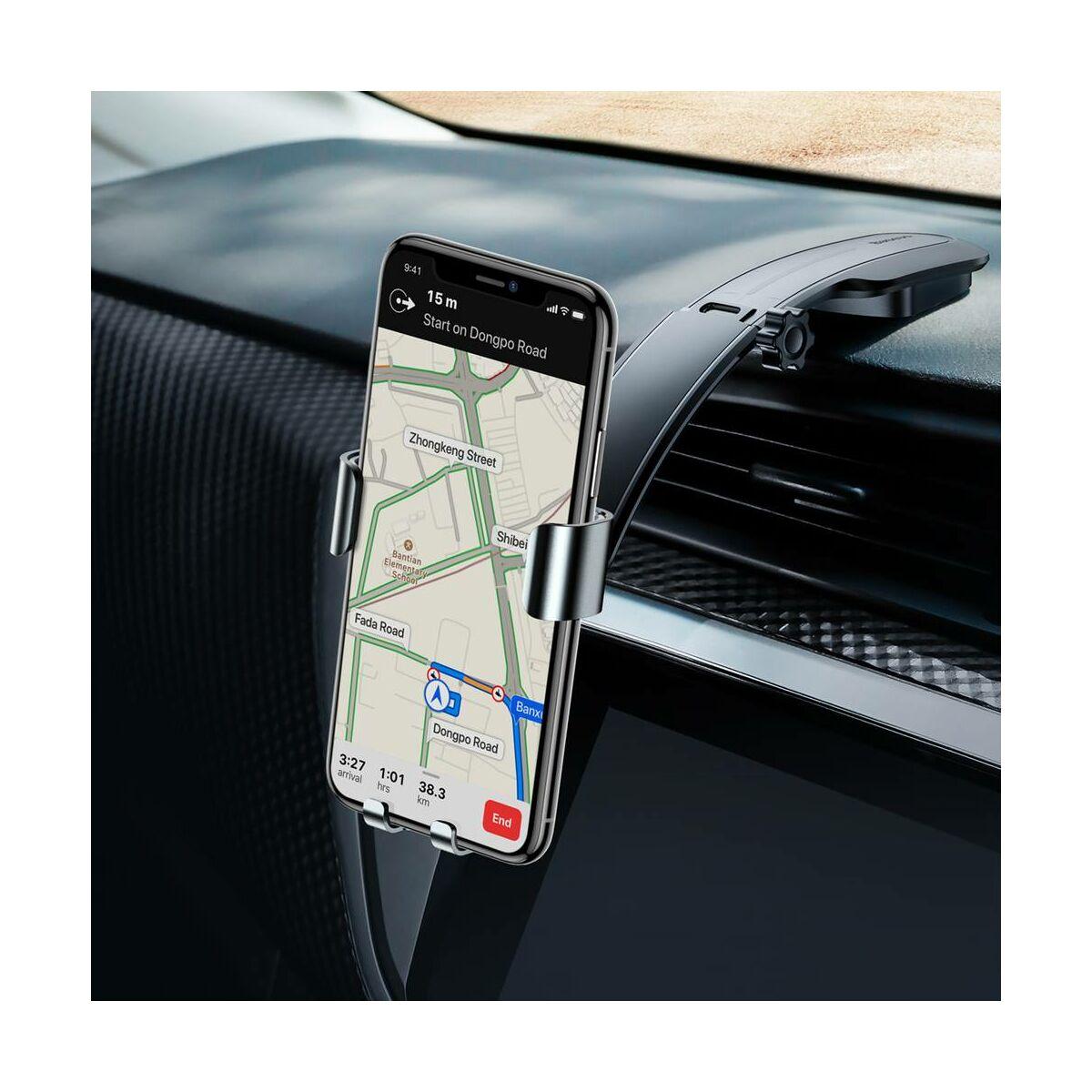 Baseus autós telefon tartó, Metal Age Gravity műszerfalra, ezüst (SUYL-F0S)