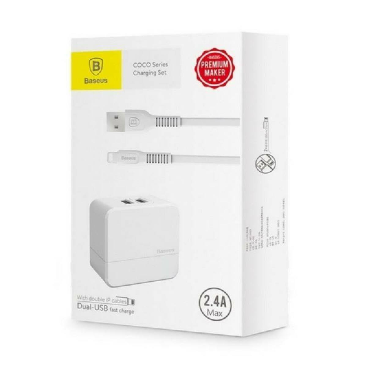 Baseus hálózati töltő, COCO dupla USB + 2db Lightning kábel, a csomagban, 2.4A, fehér (TZCOCO-02)
