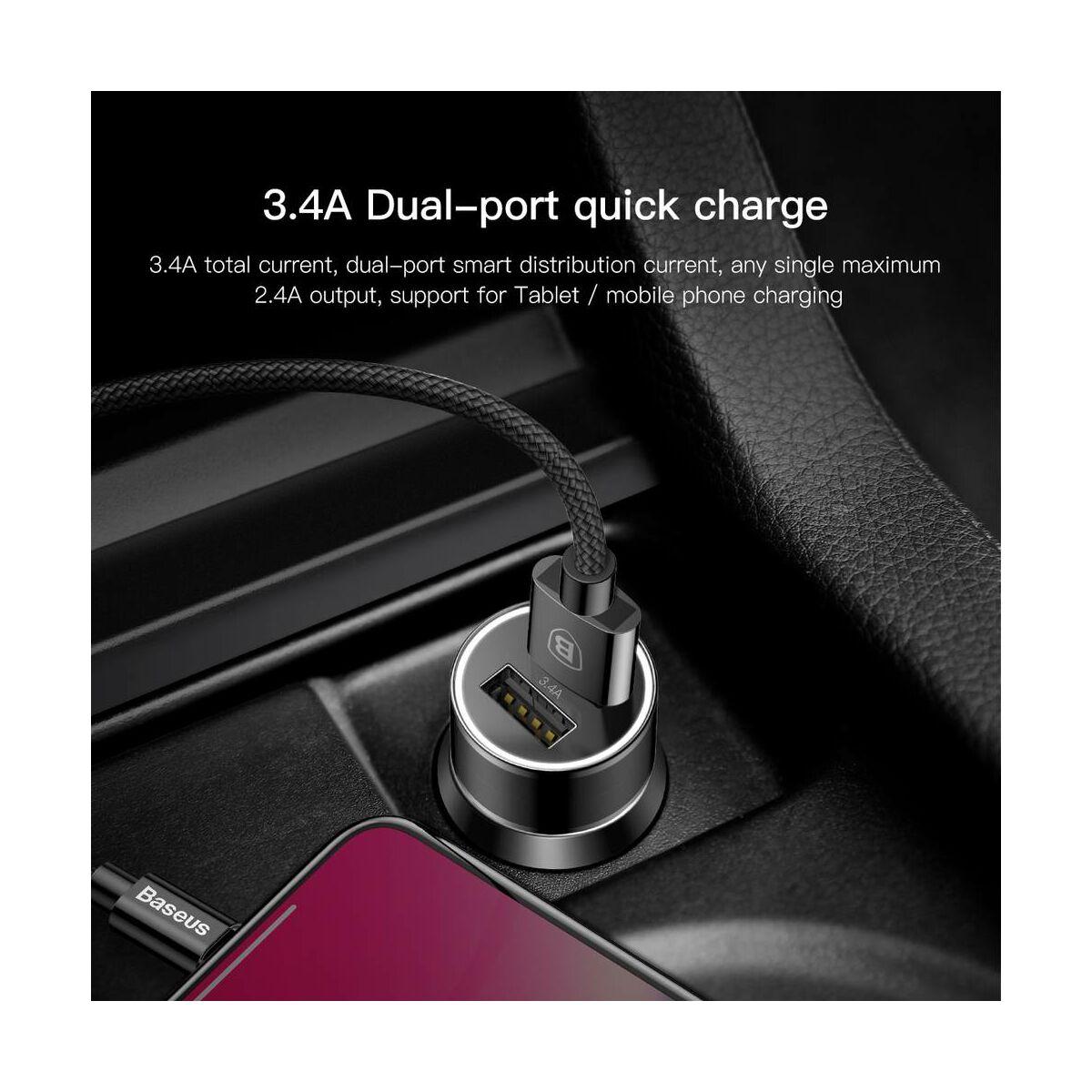Baseus autós töltő, Small Screw Dupla USB Lightning kábel, (2A, 1.2m) a csomagban, max 3.4A, fekete (TZXLD-A01)