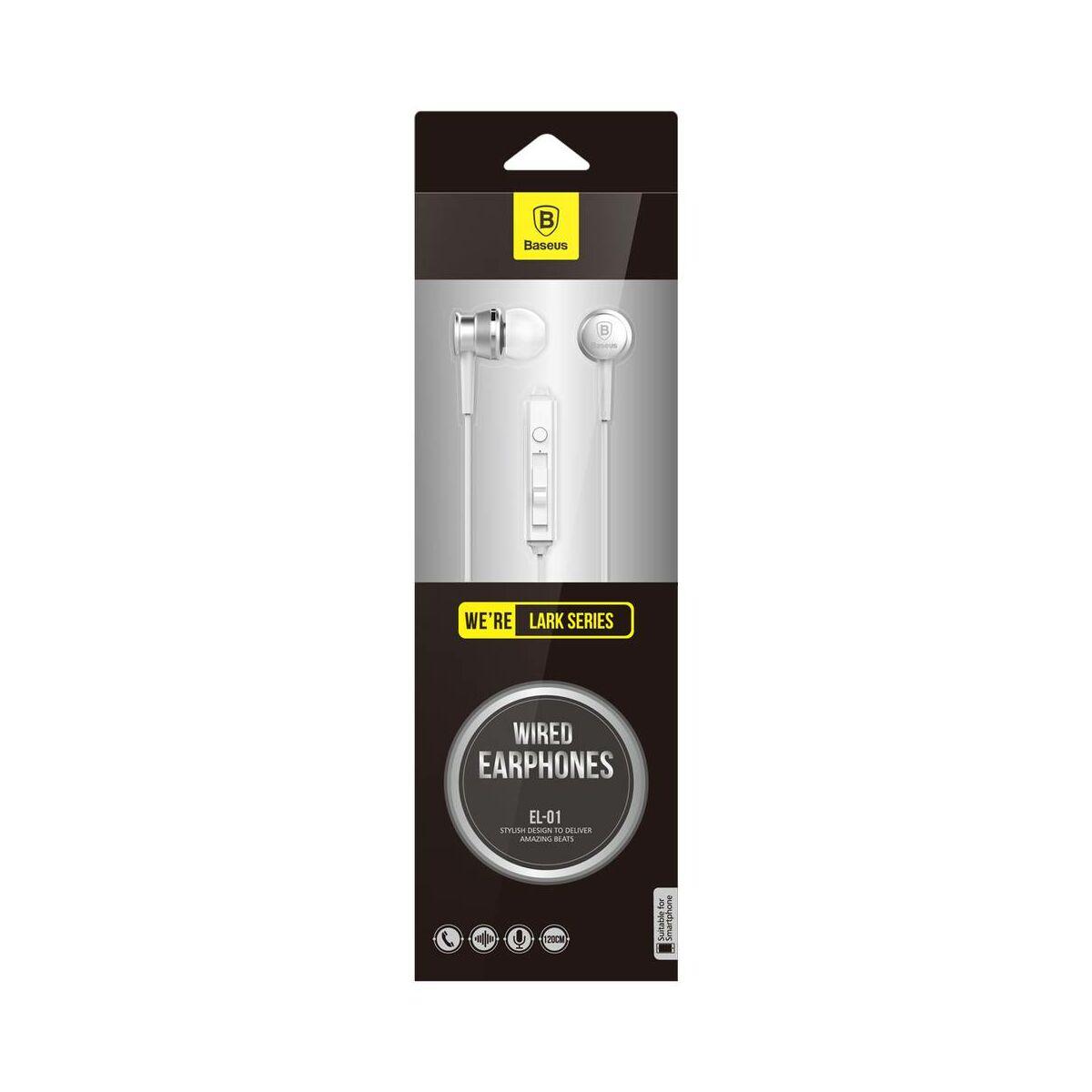 Baseus fülhallgató, Lark series, mini jack, vezetékes, vezérlővel, ezüst (WEBASEEJ-LA0S)