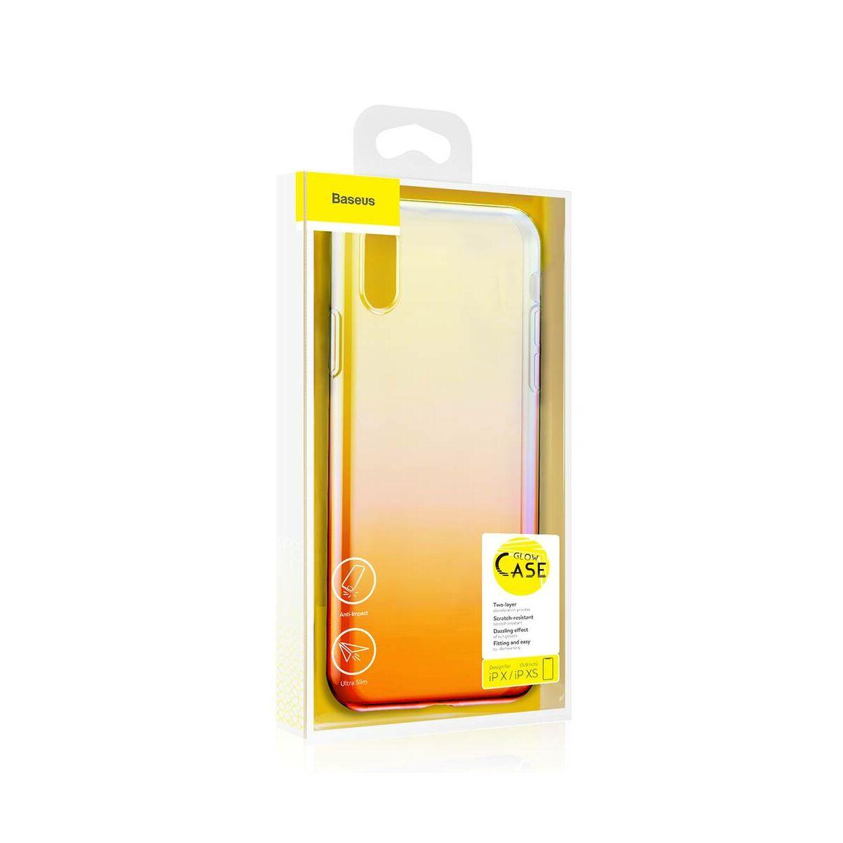 Baseus iPhone XS tok, Glow, átlátszó, rózsaszín (WIAPIPH58-XG04)