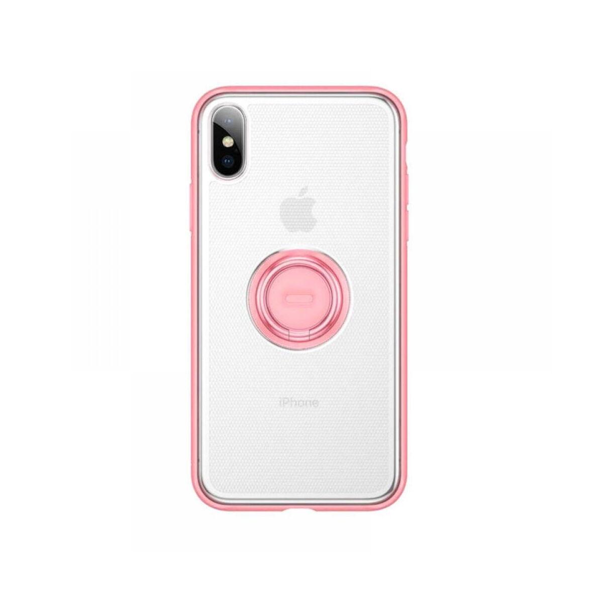 Baseus iPhone XS telefontartó, gyűrűs tok, rózsaszín (WIAPIPH58-YD04)