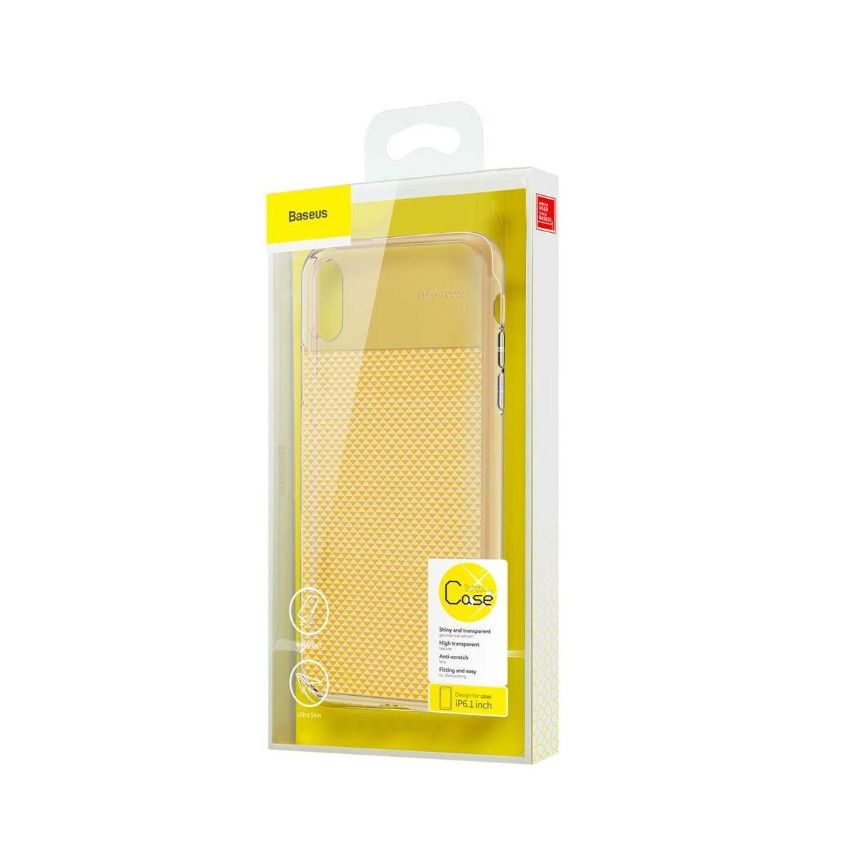 Baseus iPhone XR csillogó & tok, átlátszó, átlátszó arany (WIAPIPH61-ST0V)