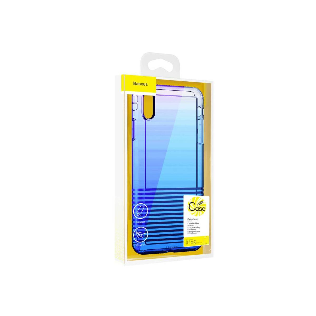 Baseus iPhone XR tok, Colorful Airbag védelem, kék (WIAPIPH61-XC03)